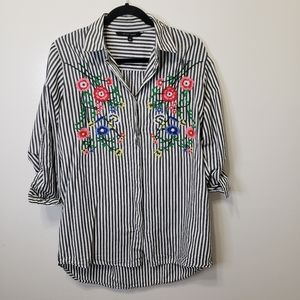Walter Baker Striped Floral Embroidery Tunic